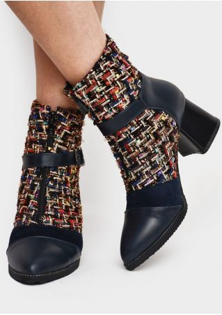 Splicing Zipper Buckle Heeled Boots