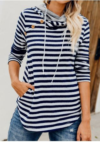 Striped Button Pocket Drawstring Hoodie