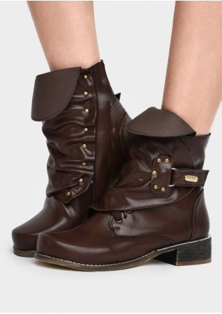 Solid PU Buckle Low-Heeled Boots