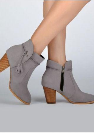 Solid Tassel Zipper Heeled Boots