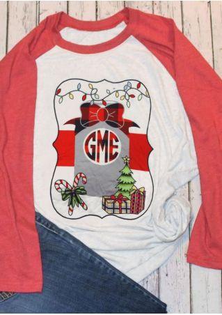 Christmas Tree Gift Long Sleeve Baseball T-Shirt