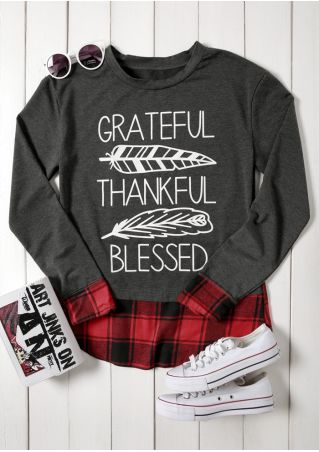 Grateful Thankful Blessed Plaid Sweatshirt