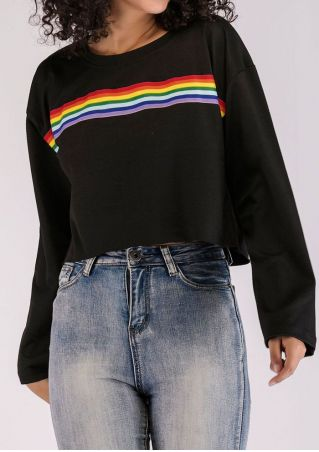 Rainbow Long Sleeve O-Neck Sweatshirt