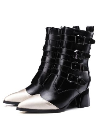 Buckle Pointed Toe Heeled Riding Boots
