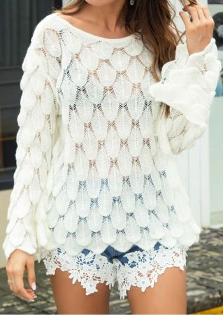 Solid Hollow Out Flare Sleeve Sweater