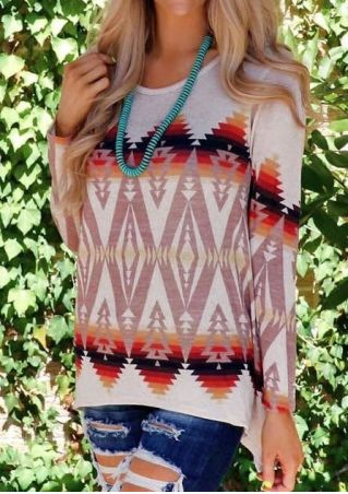 Geometric O-Neck Blouse without Necklace