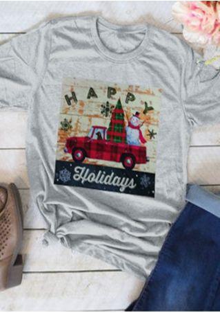 Happy Holidays Christmas Tree Snowman T-Shirt