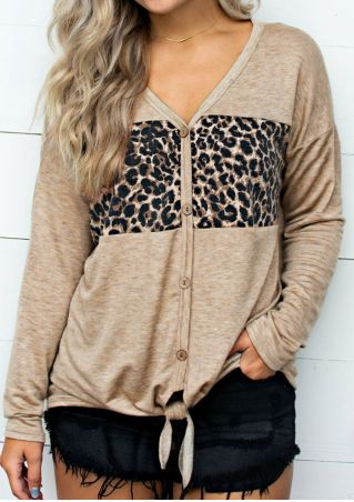Leopard Printed Tie Blouse without Necklace