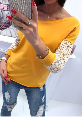 Lace Floral One Shoulder Blouse without Necklace