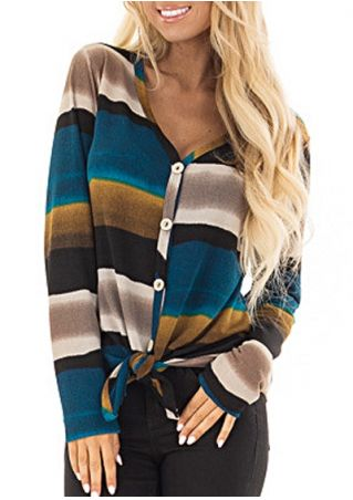 Striped Button Tie V-Neck Cardigan
