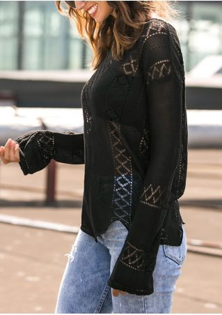 Solid Asymmetric Hollow Out Sweater