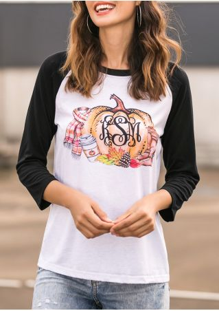 Monogram Pumpkin Maple Leaf Baseball T-Shirt