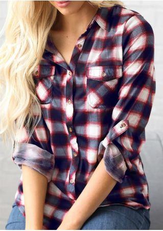 Plaid Turn-Down Collar Tab-Sleeve Shirt