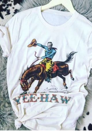Yee Haw Cowboy Horse Printed T-Shirt