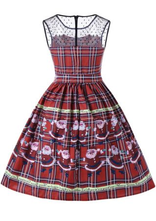 Christmas Plaid Santa Claus Mini Dress