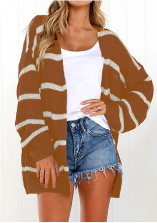 Striped Pockets Long Sleeve Knitted Cardigan