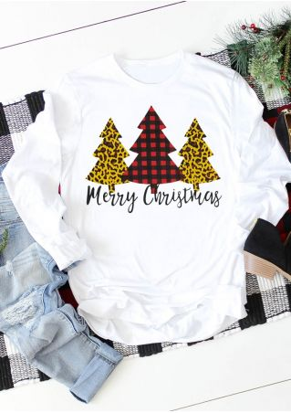 Merry Christmas Tree Plaid Leopard Printed T-Shirt