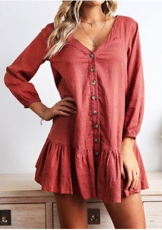 Solid Button V-Neck Mini Dress without Necklace