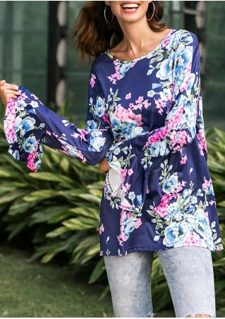 Floral Flare Sleeve O-Neck Blouse