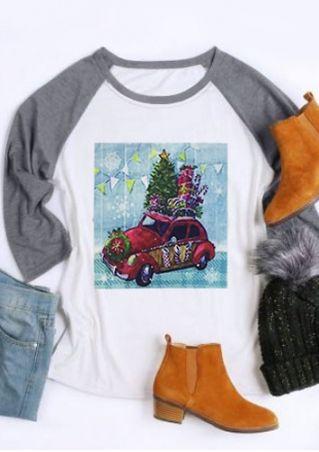 Christmas Tree Gift Car Baseball T-Shirt