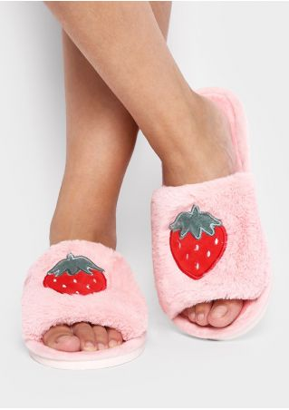 Strawberry Watermelon Faux Fur Slippers