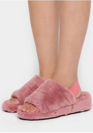Solid Faux Fur Multi-Way Slippers