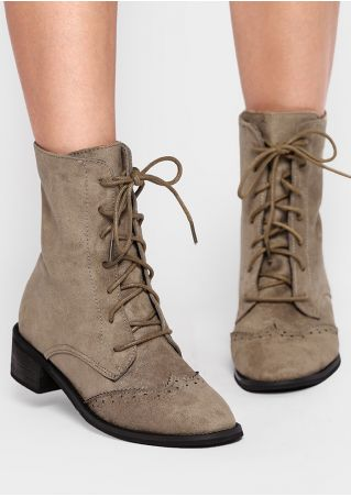 Solid Lace Up Pointed Toe Boots