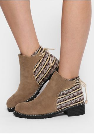 Geometric Splicing Lace Up Boots