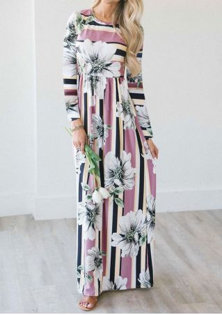 Striped Floral Pocket Maxi Dress
