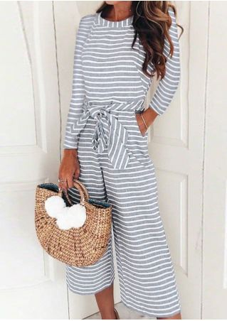 Striped Zipper Pocket Jumpsuit with Belt without Necklace