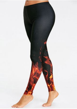 3D Flame Skinny Leggings