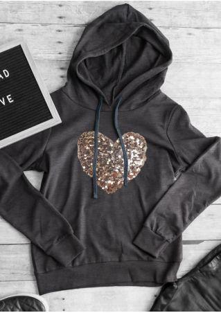 Sequined Heart Long Sleeve Hoodie