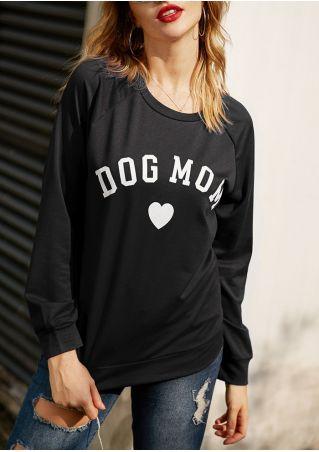 Dog Mom Heart Raglan Sleeve Sweatshirt
