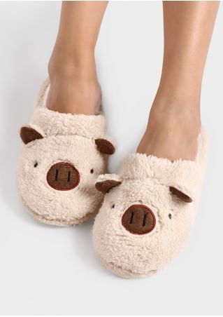 Cartoon Pig Faux Fur Slippers