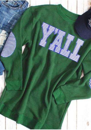 Striped Y'all Long Sleeve Sweatshirt
