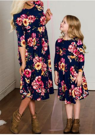 Mommy And Kids Floral Casual Dress