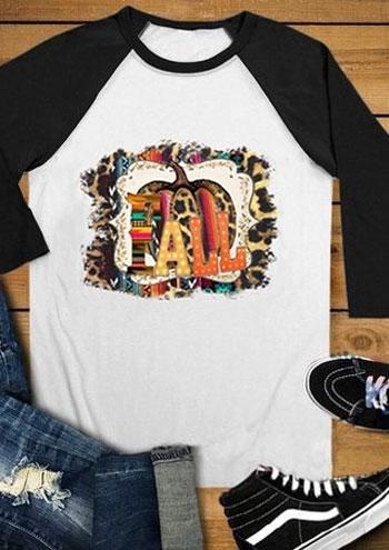 Pumpkin Fall O Neck Baseball T Shirt Bellelily