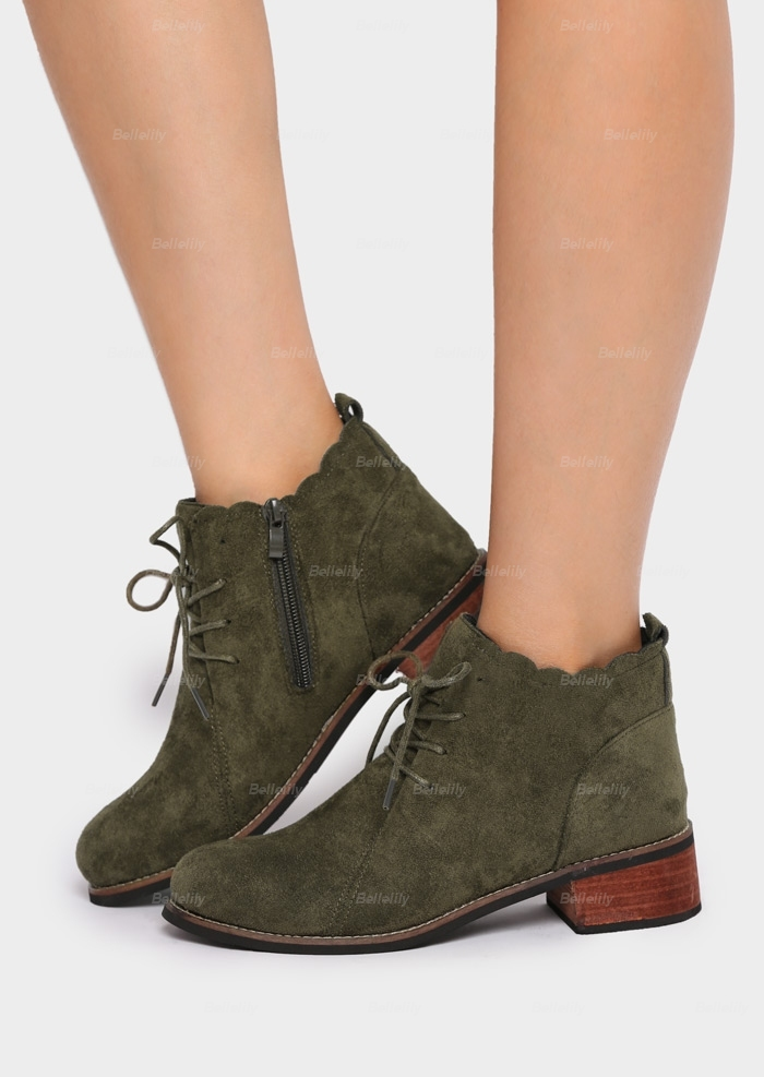 Solid Lace Up Zipper Boots