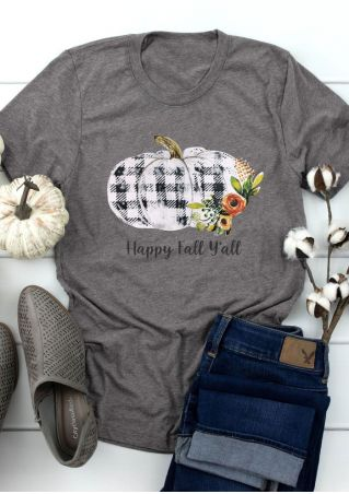 Happy Fall Y'all Pumpkin Plaid T-Shirt