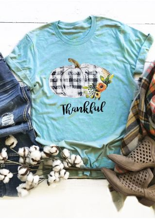 Plaid Pumpkin Floral Thankful T-Shirt