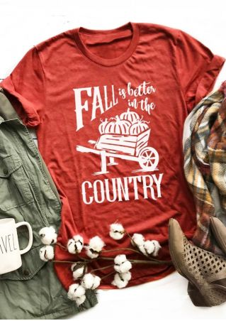 Fall Is Better In The Country Pumpkin T-Shirt