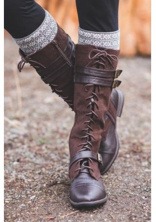 Lace Up Splicing Zipper Boots