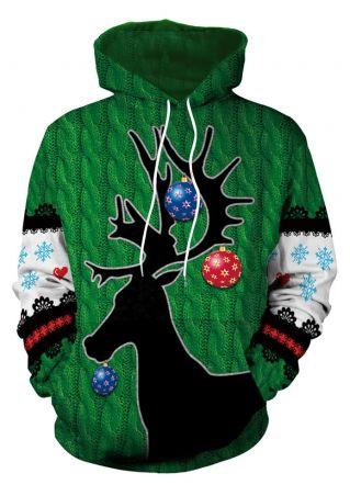 3D Christmas Elk Pocket Hoodie