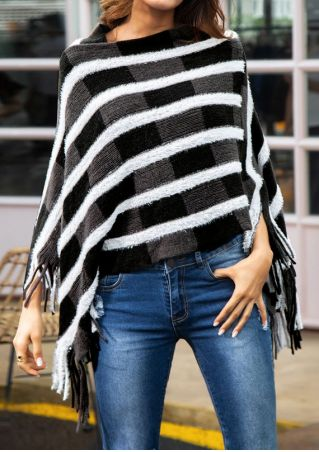 Color Block Fringe Poncho Sweater