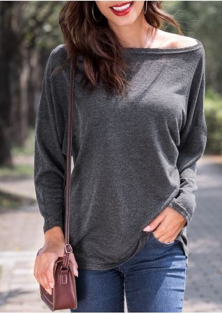 Solid Drop-Shoulder Long Sleeve Blouse