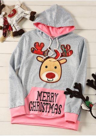 Merry Christmas Reindeer Drawstring Hoodie