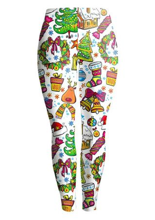 Christmas Tree Elk Candy Printed Leggings