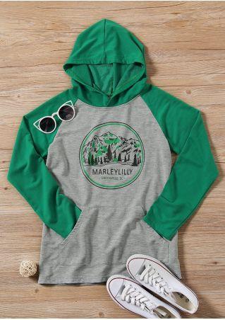 Mountain Tree Raglan Sleeve Hoodie