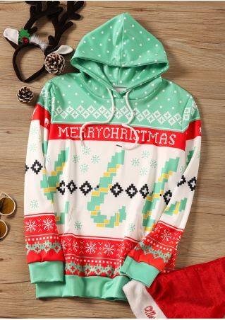 Merry Christmas Geometric Pocket Hoodie