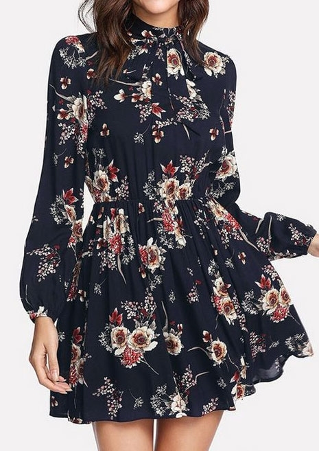 Floral Tie Long Sleeve Mini Dress 423720